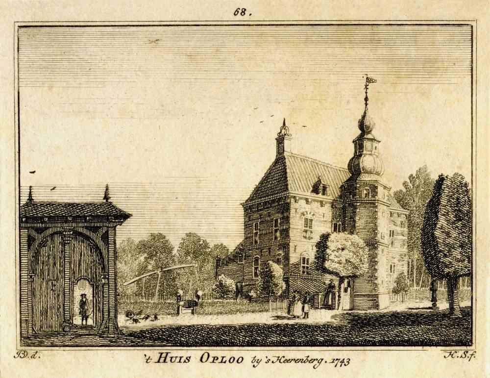 Kasteel Oploo in Oploo. Tekening Jan de Beijer, gravure Hendrik Spilman (Uit: Het Verheerlykt Nederland, Isaac Tirion, 1745/1774)